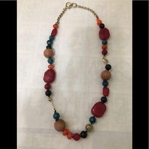 Fossil stone and bead necklace